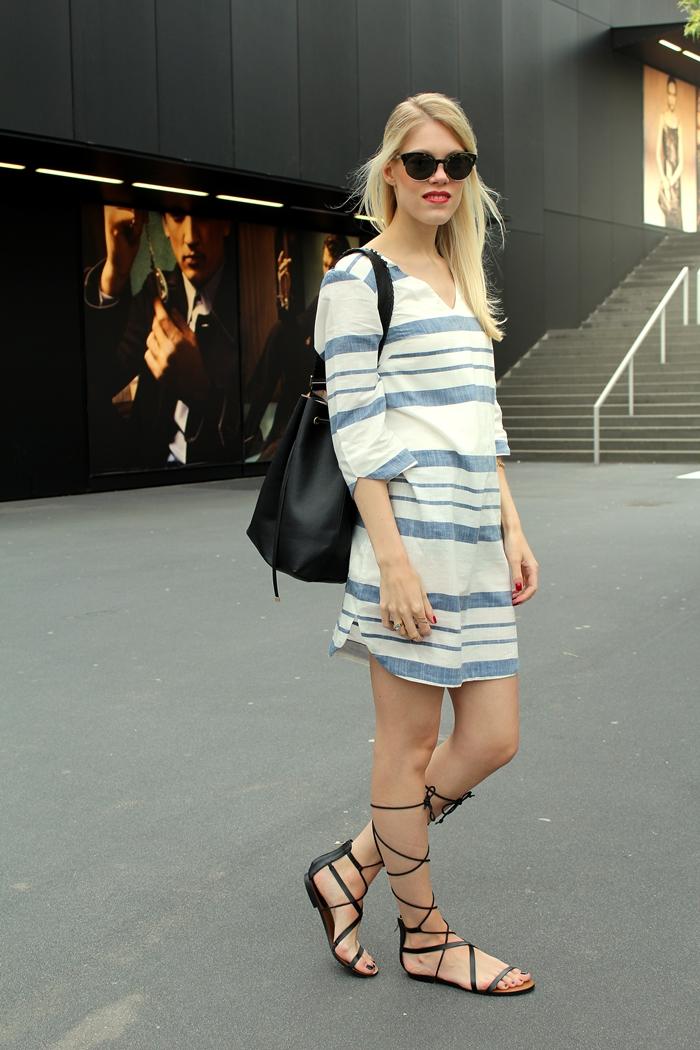 Gladiator sandals & a striped dress