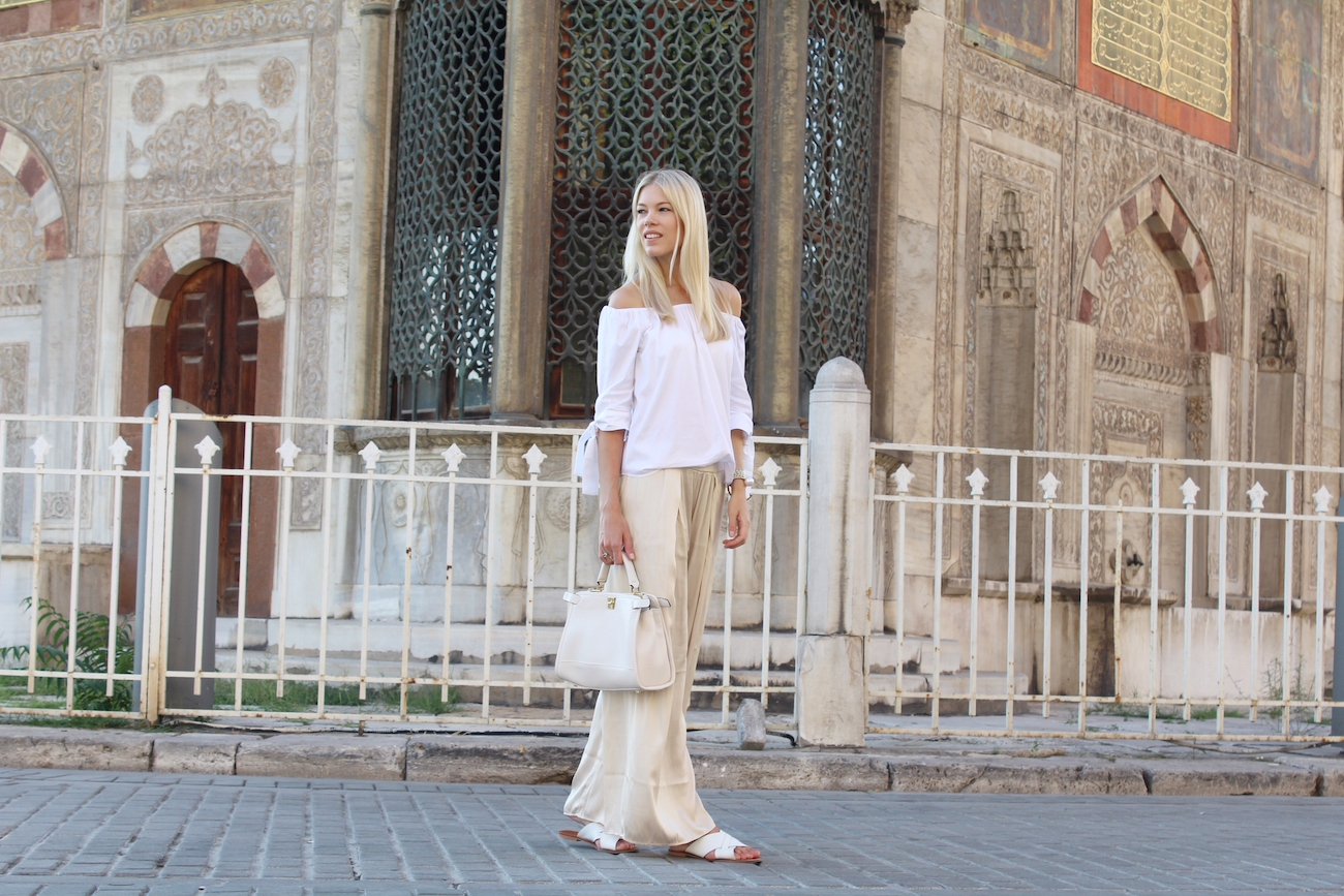 H&M-palazzo-pants-travel-Istanbul-Zara-offshouldertop