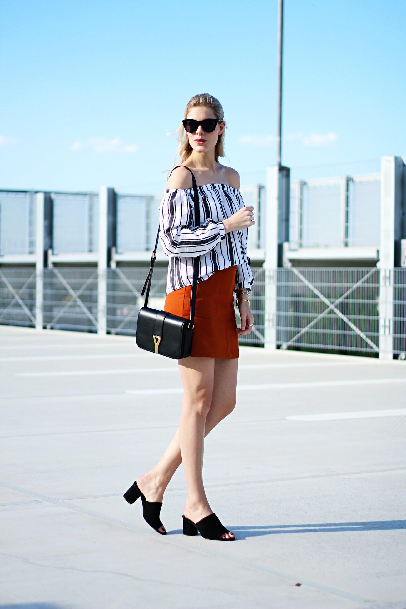 Asos-off-shoulder-blouse-stripes-orange-skirt-H&M-saint-laurent-bag1