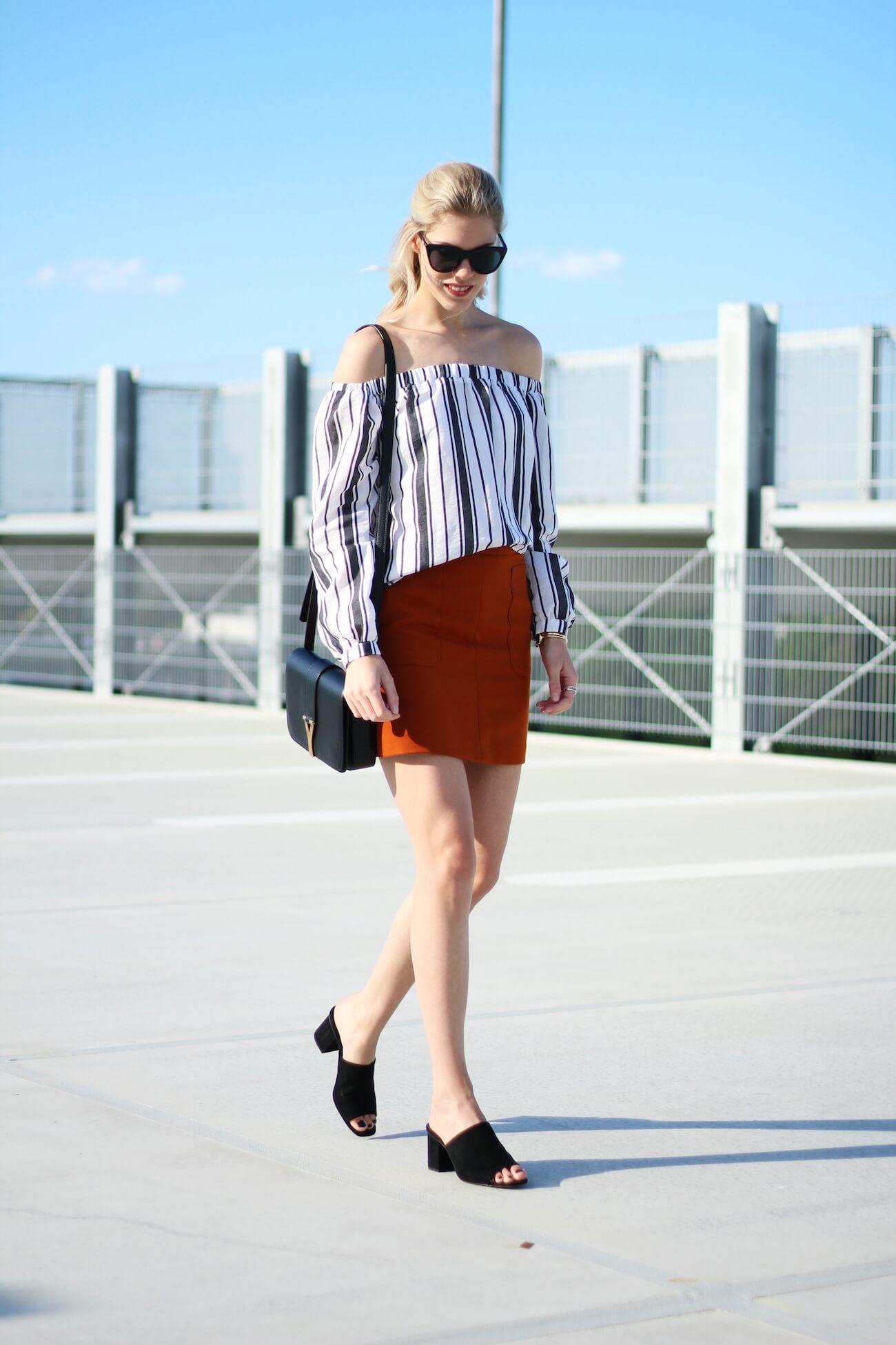 Asos-off-shoulder-blouse-stripes-orange-skirt-H&M-saint-laurent-bag2
