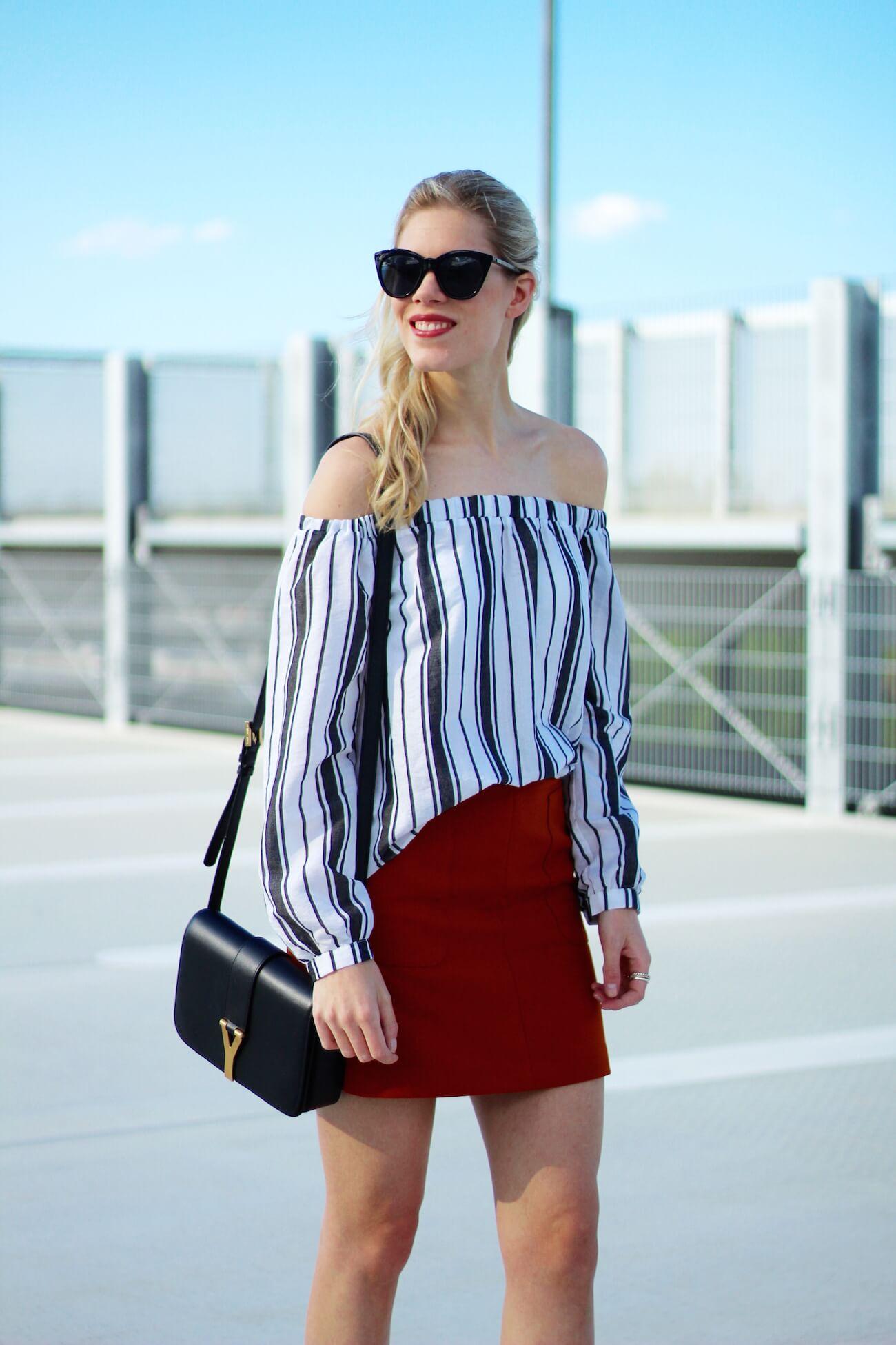 Asos-off-shoulder-blouse-stripes-orange-skirt-H&M-saint-laurent-bag6