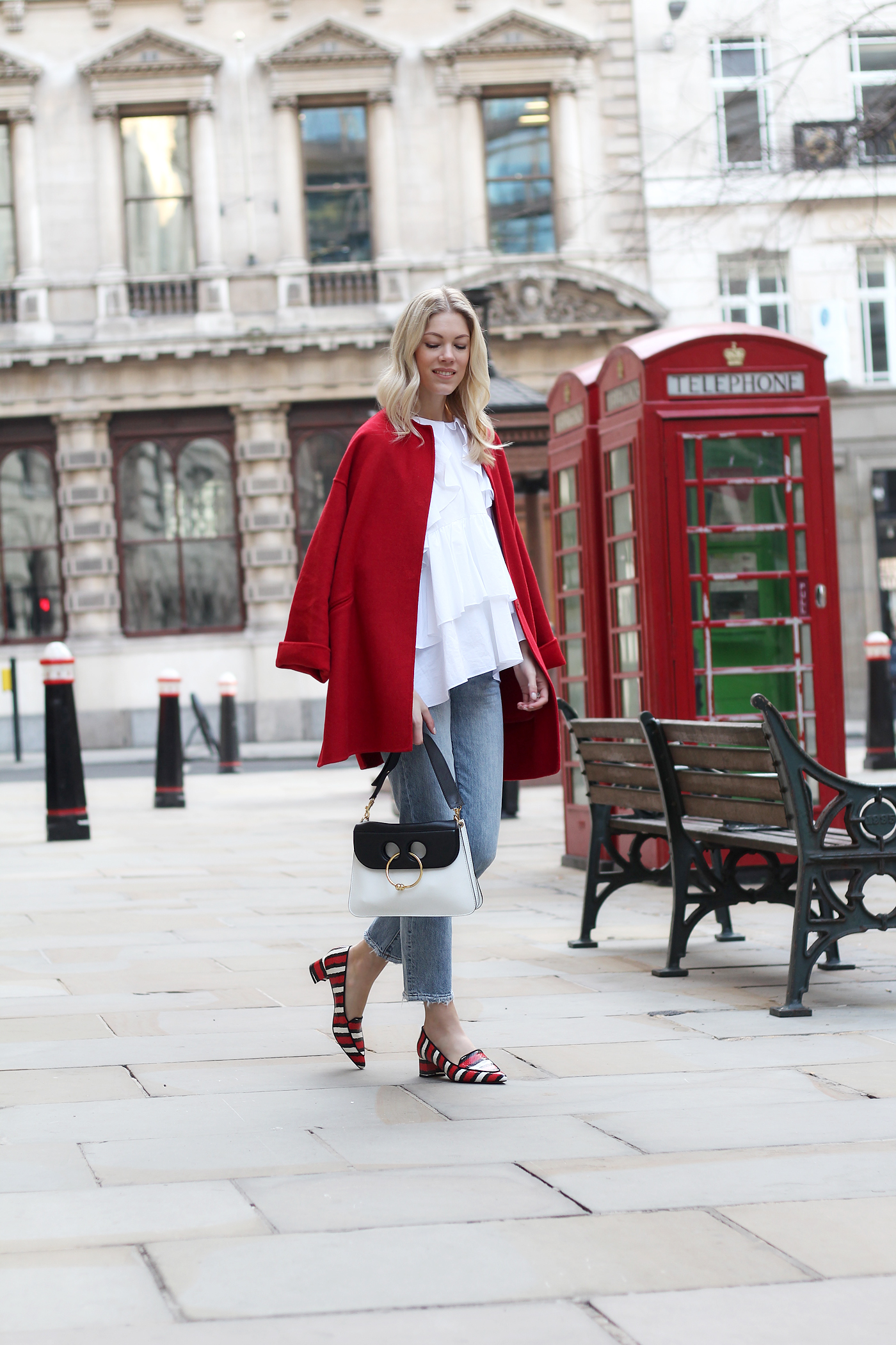 somehappyshoes_London_fashion_week_red_coat_Ganni_shoes_jeans2