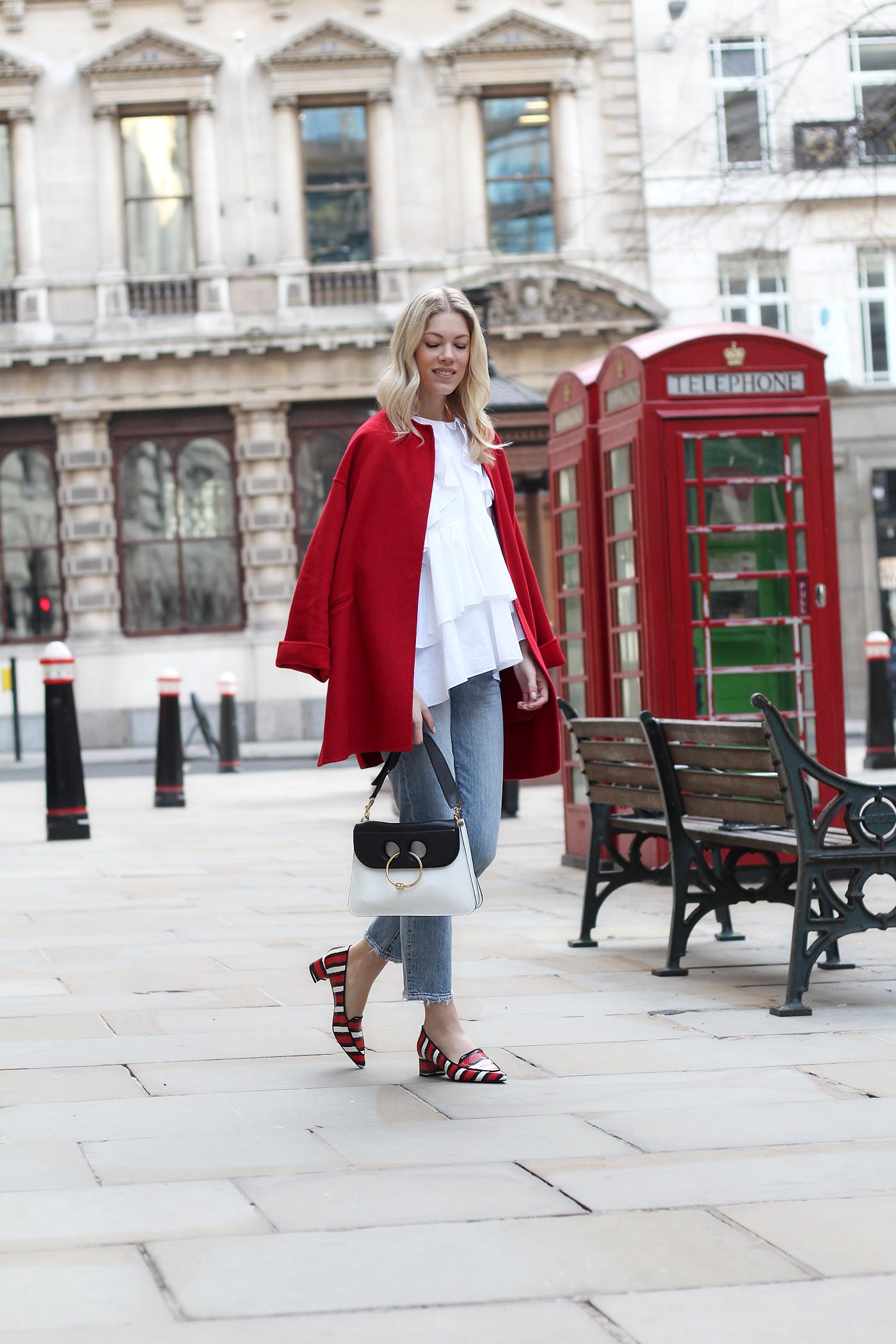 somehappyshoes_London_fashion_week_red_coat_Ganni_shoes_jeans2
