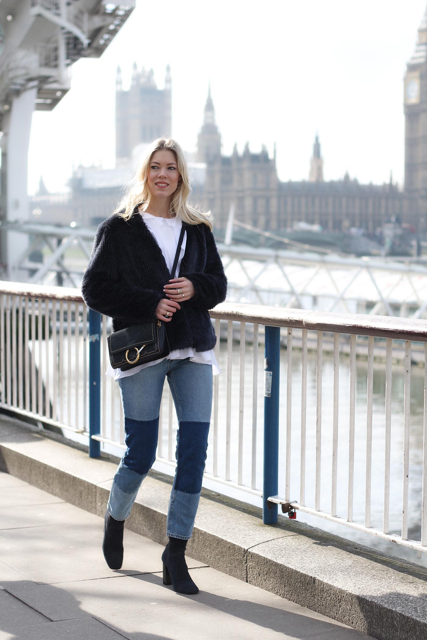 somehappyshoes_fashionblog_London_fashion_week_Look_1_Fake_Fur_denim_patches