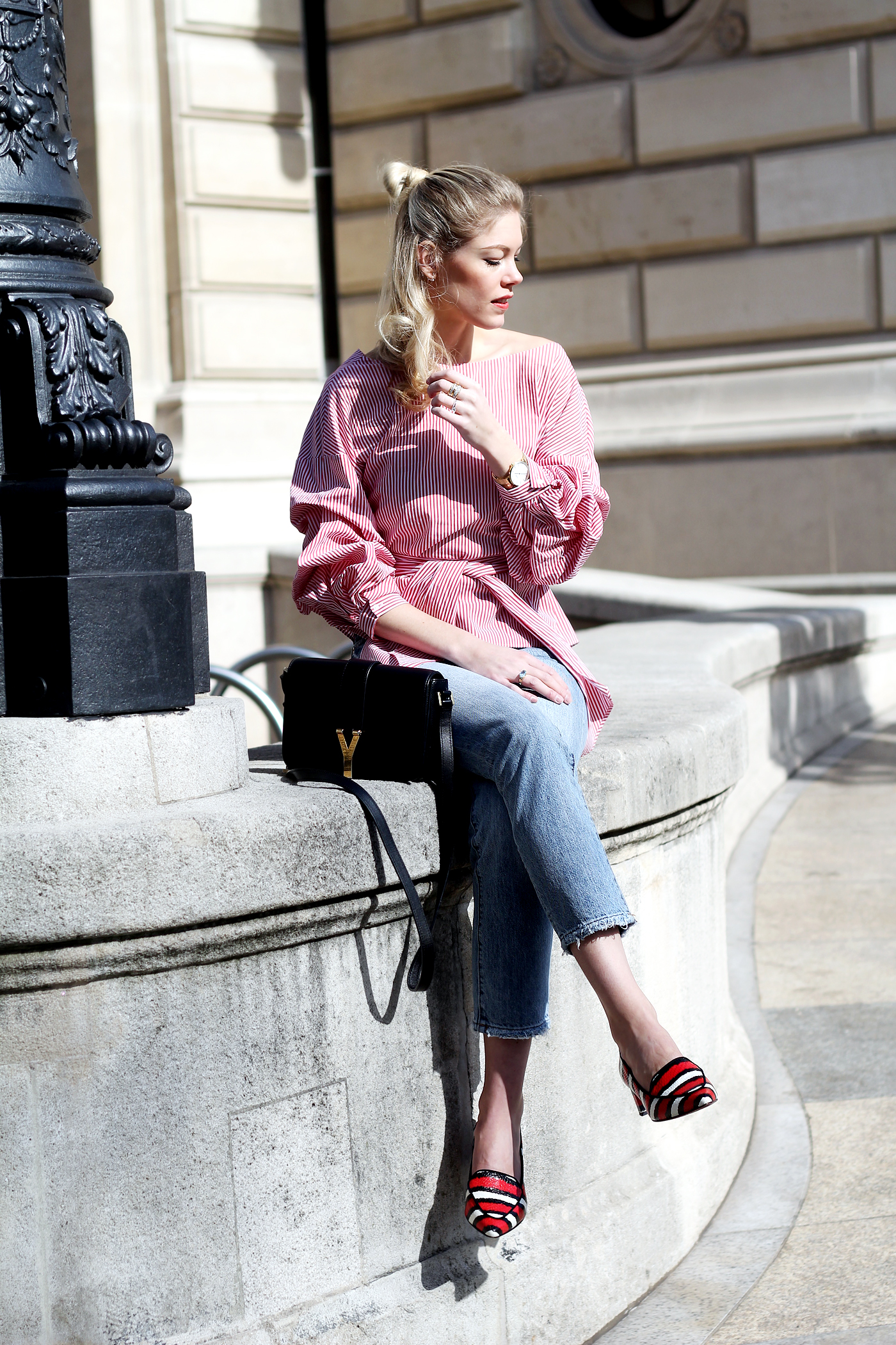 ZARA wrap blouse, mom jeans & Ganni shoes