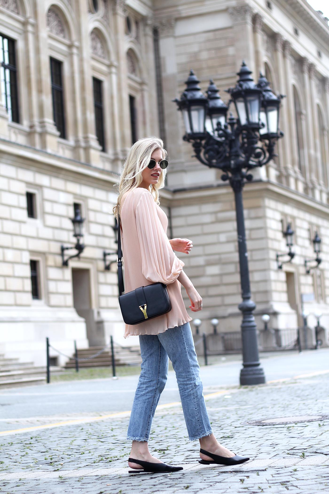 somehappyshoes_fashionblog_H&M_Jeans_saint_laurent_bag_Zara_nude_plisse_blouse9